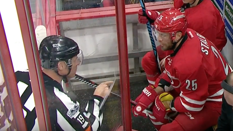 Hurricanes player gets hilariously scolded by ref after arguing penalty call