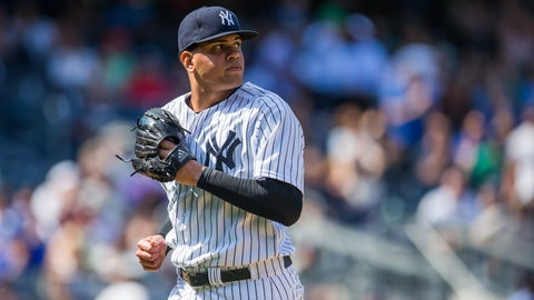 NEW YORK, NY - MAY 27:  Dellin Betances #68 of the New York Yankees jogs back to the dugout during the game against the Kansas City Royals at Yankee Stadium on Wednesday, May 27, 2015 in the Bronx borough of New York City. (Photo by Rob Tringali/MLB Photos via Getty Images)