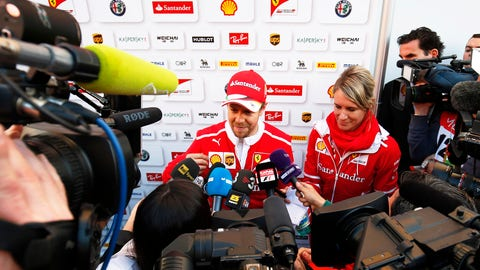 Sebastian Vettel talks to the press. (Photo: Sam Bloxham/LAT Images)