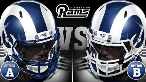 Here were the two options fans voted on for helmets ...