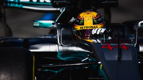 Lewis Hamilton seen turning laps in his Mercedes during the first preseason test in Spain. (Photo: Zak Mauger/LAT Images)