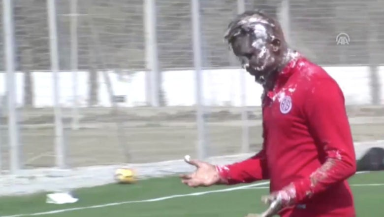 Samuel Eto'o has no time for his teammates slamming birthday cake in his face