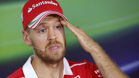 Sebastian Vettel seen during Thursday's press conference ahead of the Australian GP. (AP Photo/Rick Rycroft)