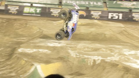 Lee O'Donnell pulls off the first ever landed front flip in Monster Jam history.