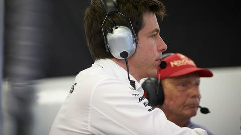 Toto Wolff was seen slamming his fist in frustration when Sebastian Vettel emerged from the pits in front of Lewis Hamilton. (Photo : Steve Etherington/LAT Images)