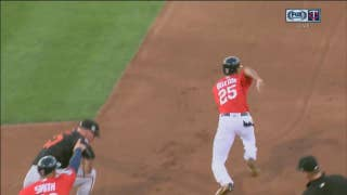 WATCH: Speedy Buxton flies from first to third on error