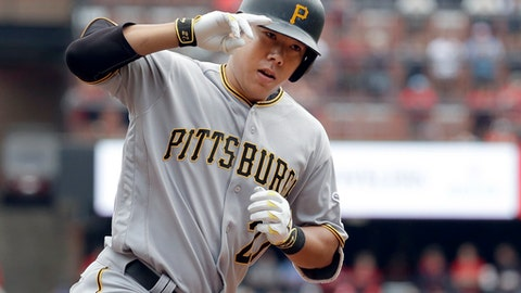Pittsburgh Pirates' Jung Ho Kang rounds the bases after hitting a three-run home run during the first inning of a baseball game against the St. Louis Cardinals on Saturday, Oct. 1, 2016, in St. Louis. (AP Photo/Jeff Roberson)