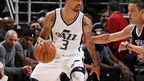 SALT LAKE CITY, UT - MARCH 3: George Hill #3 of the Utah Jazz  handles the ball against the Brooklyn Nets during the game on March 3, 2017 at vivint.SmartHome Arena in Salt Lake City, Utah. NOTE TO USER: User expressly acknowledges and agrees that, by downloading and or using this Photograph, User is consenting to the terms and conditions of the Getty Images License Agreement. Mandatory Copyright Notice: Copyright 2017 NBAE (Photo by Melissa Majchrzak/NBAE via Getty Images)