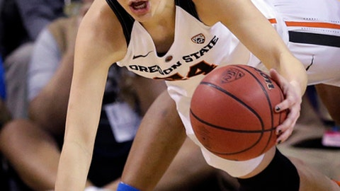 Oregon State's Sydney Wiese continues to dribble as she falls to the court during the second half of the team's NCAA college basketball game against UCLA in the Pac-12 tournament, Saturday, March 4, 2017, in Seattle. Oregon State won 63-53. (AP Photo/Elaine Thompson)