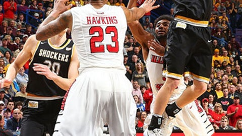 ST. LOUIS, MO - MARCH 5:  Conner Frankamp #33 of the Wichita State Shockers shoots the ball against the Illinois State Redbirds during the Missouri Valley Conference Basketball Tournament Championship game at the Scottrade Center on March 5, 2017 in St. Louis, Missouri. (Photo by Dilip Vishwanat/Getty Images)
