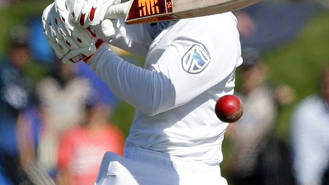 South Africa's Temba Bavuma plays at the ball during the first cricket test against New Zealand at University Oval, Dunedin, New Zealand, Thursday, March 9, 2017. (AP Photo/Mark Baker)