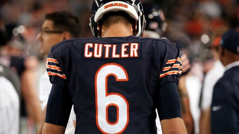 FILE - In this Sept. 19, 2016, file photo, Chicago Bears quarterback Jay Cutler (6) walks on the sideline during the second half of an NFL football game against the Philadelphia Eagles in Chicago. The Bears released Cutler on Thursday, March 9, 2017, as the NFL free agent market opened. (AP Photo/Nam Y. Huh, File)