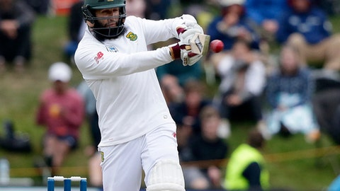 South Africa's Hashim Amla plays a pull shot during the first cricket test against New Zealand at University Oval, Dunedin, New Zealand, Friday, March 10, 2017. (AP Photo/Mark Baker)