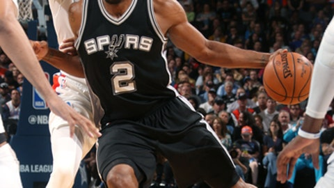OKLAHOMA CITY, OK- MARCH 9: Kawhi Leonard #2 of the San Antonio Spurs handles the ball during the game against the Oklahoma City Thunder on March 9, 2017 at Chesapeake Energy Arena in Oklahoma City, Oklahoma. NOTE TO USER: User expressly acknowledges and agrees that, by downloading and or using this photograph, User is consenting to the terms and conditions of the Getty Images License Agreement. Mandatory Copyright Notice: Copyright 2017 NBAE (Photo by Layne Murdoch/NBAE via Getty Images)