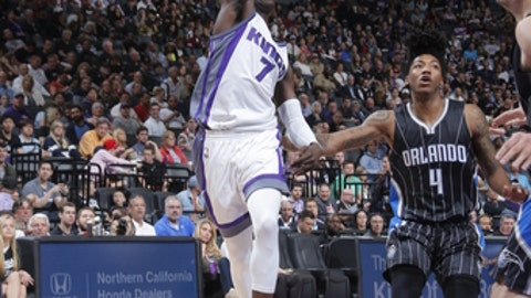 SACRAMENTO, CA - MARCH 13: Darren Collison #7 of the Sacramento Kings passes the ball against the Orlando Magic on March 13, 2017 at Golden 1 Center in Sacramento, California. NOTE TO USER: User expressly acknowledges and agrees that, by downloading and or using this Photograph, user is consenting to the terms and conditions of the Getty Images License Agreement. Mandatory Copyright Notice: Copyright 2017 NBAE (Photo by Rocky Widner/NBAE via Getty Images)