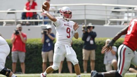 Nicholls quarterback Chase Fourcade (9) throws against Georgia in the second half of an NCAA college football game Saturday, Sept. 10, 2016, in Athens, Ga. Georgia won 26-24. (AP Photo/Brett Davis)