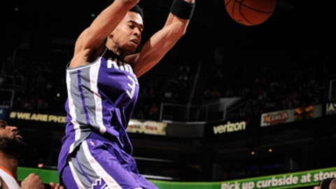 PHOENIX, AZ - MARCH 15: Skal Labissiere #3 of the Sacramento Kings dunks the ball during the game against the Phoenix Suns on March 15, 2017 at U.S. Airways Center in Phoenix, Arizona. NOTE TO USER: User expressly acknowledges and agrees that, by downloading and or using this photograph, user is consenting to the terms and conditions of the Getty Images License Agreement. Mandatory Copyright Notice: Copyright 2017 NBAE (Photo by Michael Gonzales/NBAE via Getty Images)
