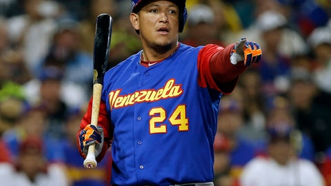 Venezuela's Miguel Cabrera points to first to appeal a called strike to no avail during the first inning of a second-round World Baseball Classic game against the Dominican Republic in San Diego, Thursday, March 16, 2017. (AP Photo/Alex Gallardo)