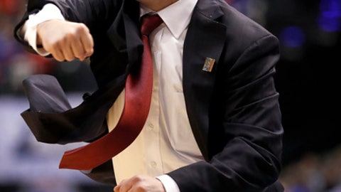 Dayton head coach Archie Miller reacts during the first half of a first-round game against Wichita State in the men's NCAA college basketball tournament Friday, March 17, 2017, in Indianapolis, Mo. (AP Photo/Jeff Roberson)