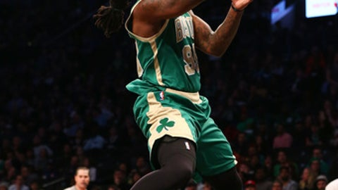 NEW YORK, NY - MARCH 17:  Jae Crowder #99 of the Boston Celtics drives to the basket against the Brooklyn Nets at Barclays Center on March 17, 2017 in New York City. NOTE TO USER: User expressly acknowledges and agrees that, by downloading and or using this photograph, User is consenting to the terms and conditions of the Getty Images License Agreement.  (Photo by Mike Stobe/Getty Images)