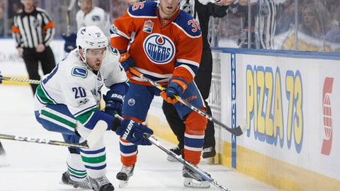 Edmonton Oilers' Drake Caggiula (36) vies for the puck with with Vancouver Canucks' Brandon Sutter (20) during the second period of an NHL hockey game Saturday, March 18, 2017, in Edmonton, Alberta. (Codie McLachlan/The Canadian Press via AP)