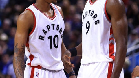 TORONTO, ON - MARCH 19:  DeMar DeRozan #10 and Serge Ibaka #9 of the Toronto Raptors on court during the second half of an NBA game against the Indiana Pacers at Air Canada Centre on March 19, 2017 in Toronto, Canada.  NOTE TO USER: User expressly acknowledges and agrees that, by downloading and or using this photograph, User is consenting to the terms and conditions of the Getty Images License Agreement.  (Photo by Vaughn Ridley/Getty Images)