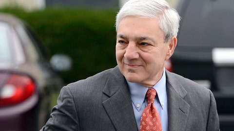 FILE - In this Nov. 7, 2012, file photo, Former Penn State president Graham Spanier arrives before entering a judge's office in Harrisburg, Pa. Spanier initiated a libel and defamation case Thursday, July 11, 2013, against Louis Freeh, the former FBI director who a year ago produced a report for the school that was highly critical of Spanier's role in the child sex abuse scandal involving longtime assistant football coach Jerry Sandusky. (AP Photo/Jason Minick, File)