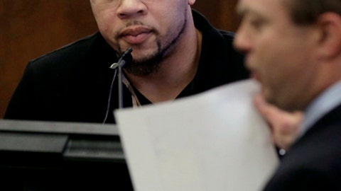 Alexander Bradley, left, is questioned by assistant district attorney Patrick Haggan, right, as he testifies during the double murder trial for former New England Patriots tight end Aaron Hernandez in Suffolk Superior Court, Monday, March 20, 2017, in Boston. Hernandez is on trial for the July 2012 killings of Daniel de Abreu and Safiro Furtado who he encountered in a Boston nightclub. The former NFL football player is already serving a life sentence in the 2013 killing of semi-professional football player Odin Lloyd. (AP Photo/Steven Senne, Pool)