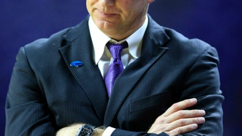 Kansas State coach Jeff Mittie reacts to a call during the first half of the team's second-round game against Stanford in the NCAA women's college basketball tournament in Manhattan, Kan., Monday, March 20, 2017. (AP Photo/Orlin Wagner)