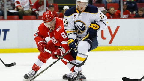 Detroit Red Wings' Justin Abdelkader holds down the stick of Buffalo Sabres' Jack Eichel in the first period of an NHL hockey game Monday, March 20, 2017, in Detroit. (AP Photo/Paul Sancya)