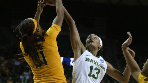 Baylor forward Nina Davis, right, reaches for a rebound with California forward Kristine Anigwe, left, during the first half of a second-round game in the NCAA women's college basketball tournament in Waco, Texas, Monday, March 20, 2017. (AP Photo/Rod Aydelotte)