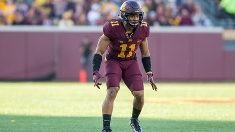 Minnesota defensive back Antoine Winfield Jr. (11) plays during an NCAA college football game against Purdue, Saturday, Nov. 5, 2016 in Minneapolis. (AP Photo/Paul Battaglia)
