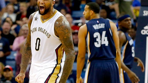 NEW ORLEANS, LA - MARCH 21:  DeMarcus Cousins #0 of the New Orleans Pelicans reacts after an assist against the Memphis Grizzlies during the second half at the Smoothie King Center on March 21, 2017 in New Orleans, Louisiana. The Pelicans won the game 95 - 82. NOTE TO USER: User expressly acknowledges and agrees that, by downloading and or using this photograph, User is consenting to the terms and conditions of the Getty Images License Agreement.  (Photo by Sean Gardner/Getty Images)