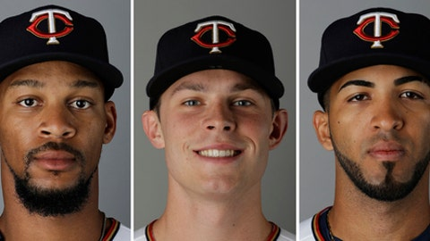 FILE - From left are 2017 file photos showing Minnesota Twins baseball players Byron Buxton, Max Kepler and Eddie Rosario. With Buxton, Kepler and Rosario in place, the Twins have the makings of a solid outfield for years to come. They've all got high-ceiling potential as hitters, but the most immediate benefit is the speed on defense that ought to help a beleaguered pitching staff. (AP Photo/David Goldman, File)