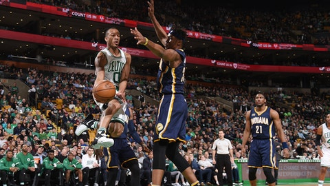 BOSTON, MA - MARCH 22: Avery Bradley #0 of the Boston Celtics goes for a lay up against the Indiana Pacers during the game on March 22, 2017 at the TD Garden in Boston, Massachusetts.  NOTE TO USER: User expressly acknowledges and agrees that, by downloading and or using this photograph, User is consenting to the terms and conditions of the Getty Images License Agreement. Mandatory Copyright Notice: Copyright 2017 NBAE  (Photo by Brian Babineau/NBAE via Getty Images)