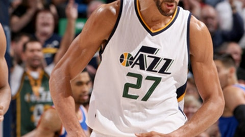 SALT LAKE CITY, UT - MARCH 22:  Rudy Gobert #27 of the Utah Jazz celebrates after scoring against the New York Knicks on March 22, 2017 at vivint.SmartHome Arena in Salt Lake City, Utah. NOTE TO USER: User expressly acknowledges and agrees that, by downloading and or using this Photograph, User is consenting to the terms and conditions of the Getty Images License Agreement. Mandatory Copyright Notice: Copyright 2017 NBAE (Photo by Melissa Majchrzak/NBAE via Getty Images)
