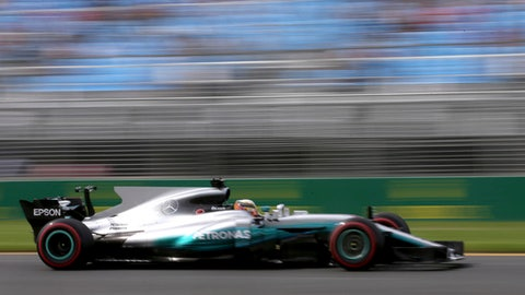 Mercedes driver Lewis Hamilton of Britain steers his car during the first practice session for the Australian Grand Prix in Melbourne, Australia, Friday, March 24, 2017. (AP Photo/Rick Rycroft)