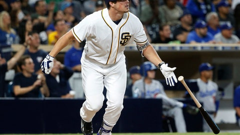 In this Sept. 27, 2016, file photo, San Diego Padres' Hunter Renfroe watches his grand slam during the eighth inning of a baseball game against the Los Angeles Dodgers, in San Diego. The 25-year-old Renfroe has big-time power. (AP Photo/Lenny Ignelzi, File)