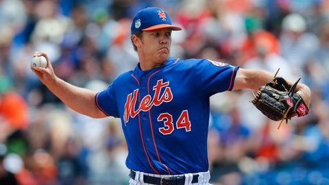 New York Mets starting pitcher Noah Syndergaard (34) works the first before a spring training baseball game against the Houston Astros Friday, March 24, 2017, in Port St. Lucie, Fla. (AP Photo/John Bazemore)