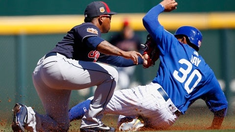 Cleveland Indians' Jose Ramirez, left, tags out Chicago Cubs' Jon Jay (30) as Jay attempts to steal second base during the third inning of a spring training baseball game Friday, March 24, 2017, in Mesa, Ariz. (AP Photo/Ross D. Franklin)