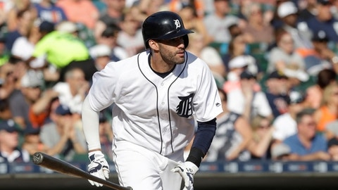 FILE - In this Sept. 25, 2016, file photo, Detroit Tigers' J.D. Martinez runs to first during the eighth inning of a baseball game against the Kansas City Royals in Detroit. Martinez is a great fantasy option when on the field, as shown in his 2015 season with a .282 average, 38 home runs, 93 runs and 102 RBIs. (AP Photo/Carlos Osorio, File)