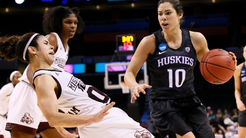 Washington guard Kelsey Plum (10) drives past Mississippi State guard Dominique Dillingham, left, during the second half of a regional semifinal of the NCAA women's college basketball tournament, Friday, March 24, 2017, in Oklahoma City. (AP Photo/Sue Ogrocki)