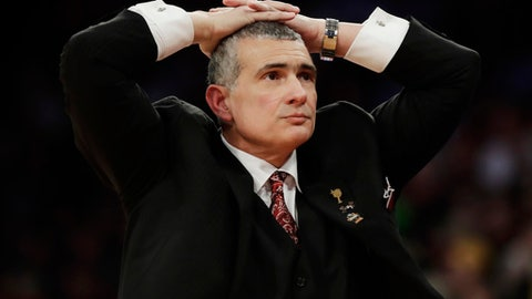 South Carolina head coach Frank Martin reacts in the second half against Baylor during an East Regional semifinal game of the NCAA men's college basketball tournament, Friday, March 24, 2017, in New York. (AP Photo/Frank Franklin II)