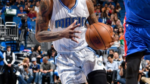 ORLANDO, FL - MARCH 24: Elfrid Payton #4 of the Orlando Magic drives to the basket against the Detroit Pistons on March 24, 2017 at Amway Center in Orlando, Florida. NOTE TO USER: User expressly acknowledges and agrees that, by downloading and or using this photograph, User is consenting to the terms and conditions of the Getty Images License Agreement. Mandatory Copyright Notice: Copyright 2017 NBAE (Photo by Fernando Medina/NBAE via Getty Images)