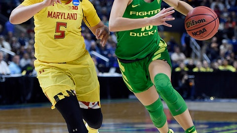 Oregon's Lexi Bando, right, dribbles as Maryland's Destiny Slocum, left, defends, during the first half of a regional semifinal game in the NCAA women's college basketball tournament, Saturday, March 25, 2017, in Bridgeport, Conn. (AP Photo/Jessica Hill)