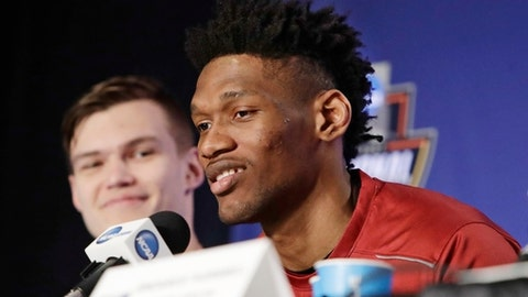 South Carolina's Chris Silva speaks during a news conference Saturday, March 25, 2017, in New York. South Carolina will play Florida in the east regional final of the NCAA college basketball tournament Sunday. (AP Photo/Frank Franklin II)