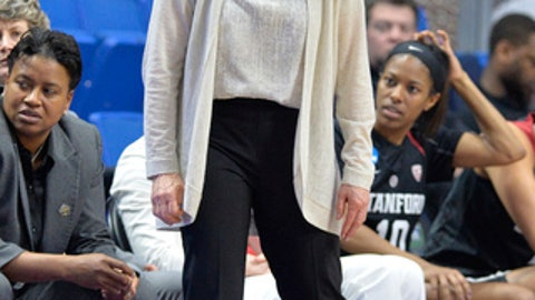 Stanford's head coach Tara VanDerveer watches her team during the second half of a regional final of the NCAA women's college basketball tournament against Notre Dame, Sunday, March. 26, 2017, in Lexington, Ky. Stanford won 76-75. (AP Photo/Timothy D. Easley)