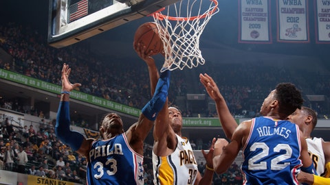 INDIANAPOLIS, IN - MARCH 26:  Myles Turner #33 of the Indiana Pacers goes to the basket against the Philadelphia 76ers on March 26, 2017 at Bankers Life Fieldhouse in Indianapolis, Indiana. NOTE TO USER: User expressly acknowledges and agrees that, by downloading and or using this Photograph, user is consenting to the terms and conditions of the Getty Images License Agreement. Mandatory Copyright Notice: Copyright 2017 NBAE (Photo by Ron Hoskins/NBAE via Getty Images)