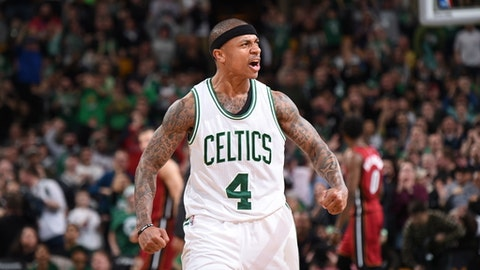 BOSTON, MA - MARCH 26:  Isaiah Thomas #4 of the Boston Celtics celebrates after scoring against the Miami Heat on March 26, 2017 at the TD Garden in Boston, Massachusetts.  NOTE TO USER: User expressly acknowledges and agrees that, by downloading and or using this photograph, User is consenting to the terms and conditions of the Getty Images License Agreement. Mandatory Copyright Notice: Copyright 2017 NBAE  (Photo by Brian Babineau/NBAE via Getty Images)