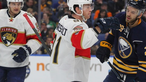 Florida Panthers forward Jonathan Marchessault (81) celebrates his goal during the second period of an NHL hockey game against the Buffalo Sabres, Monday, March 27, 2017, in Buffalo, N.Y. (AP Photo/Jeffrey T. Barnes)